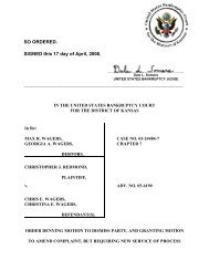 05-06190 Redmond v. Wagers et al - District of Kansas