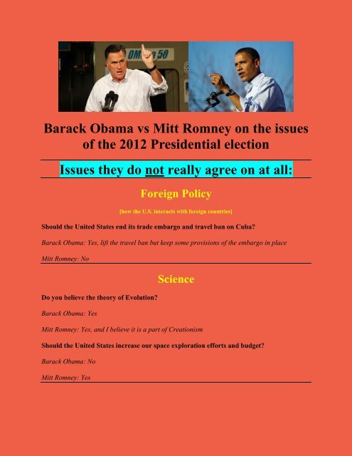 Issues Not Agreed on by Romney and Obama.pdf