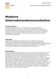 Moderne Unternehmenskommunikation Inhouse-Seminar