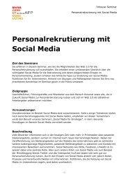 Personalrekrutierung mit Social Media Inhouse-Seminar