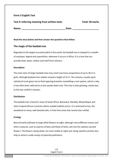 Form 3 English Test Test 4: Inferring meaning from written ... - Pearson