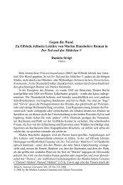 Gegen die Wand. Zu Elfriede Jelineks Lektüre von Marlen ...