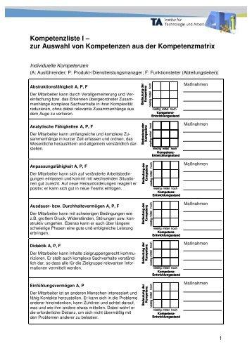Kompetenzliste I – zur Auswahl von Kompetenzen ... - Ita.pagimo.de