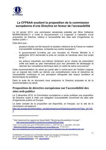 Position du CFPSAA sur la proposition de directive relative à ... - CFHE