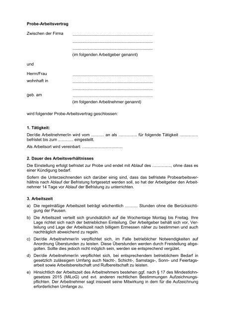 Probe Arbeitsvertrag Zwischen Der Firma Im Gruender Mvde