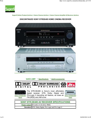 SONY STR-DE495 AV RECEIVER SPECIFICATIONS