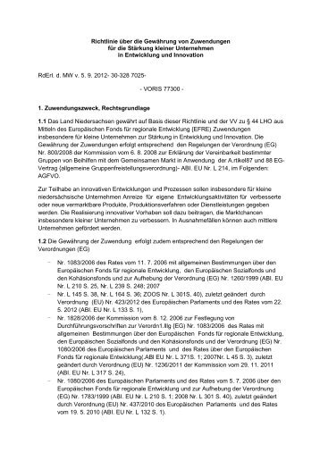 Richtlinie über die Gewährung von Zuwendungen für die Stärkung ...