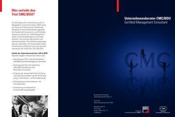 Unternehmensberater CMC/BDU Certified Management Consultant ...