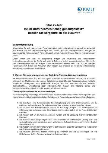 Fitnesstest: Inhalte (PDF, 126 KB) - KMU Mittelstandsberatung GmbH