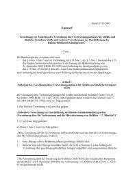 Entwurf einer Verordnung zur Änderung der Verordnung über ...