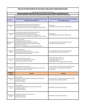 Board of Intermediate & Secondary Education ... - Study in Pakistan
