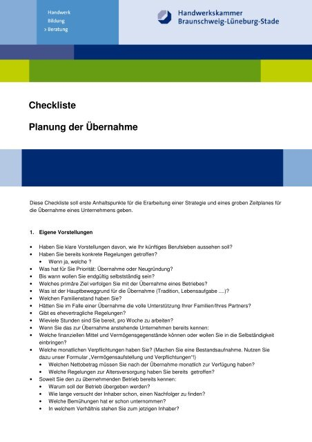 Neu Checkliste Planung Der Aœbernahme