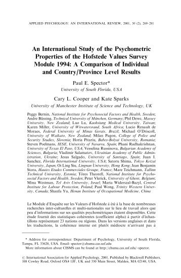 An international study of the psychometric properties of the Hofstede ...