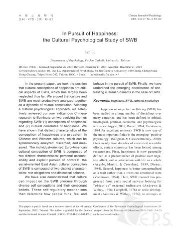 In Pursuit of Happiness: the Cultural Psychological Study of SWB
