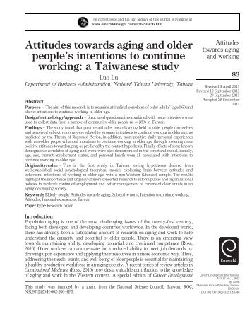 Attitudes towards aging and older people's intentions to ... - Emerald