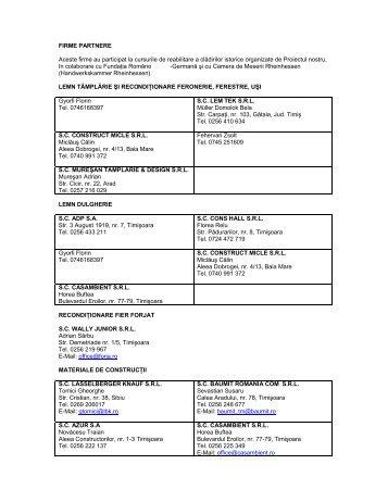Adresele firmelor de construcţii care au participat la ... - gtztm.ro