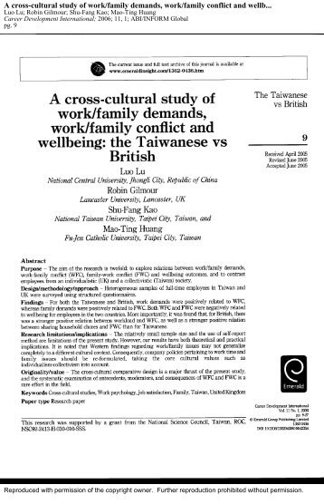 A cross-cultural study of work/family demands, work/family conflict ...