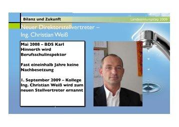 Neuer Direktorstellvertreter – Ing. Christian Weiß