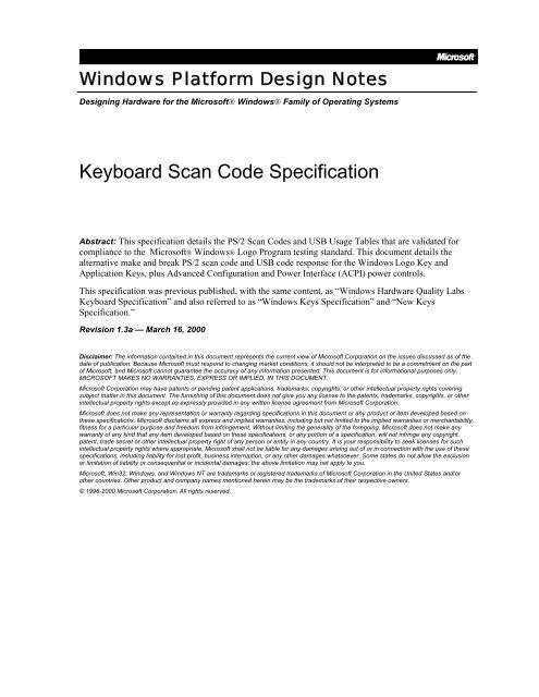Keyboard Scan Code Specification