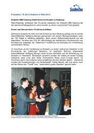 Presseaussendung: 10 Jahre Sodexho in Österreich - Sodexo