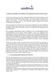 Sodexo Verhaltenskodex für Ethische Geschäftspraktiken