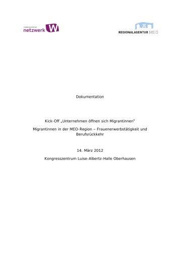 """Dokumentation Kick-Off """"Unternehmen öffnen sich Migrantinnen ..."""