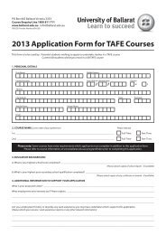 2013 Application Form for TAFE Courses - Ballarat Health Services