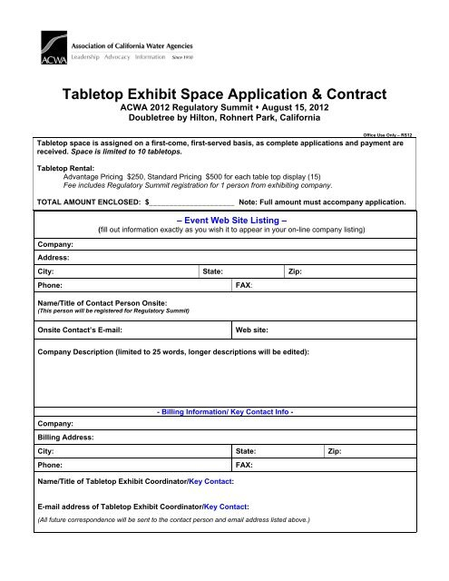 Tabletop Exhibit Space Application & Contract - ACWA