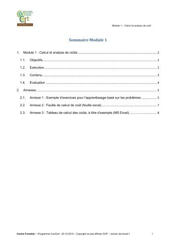Module 1 : Calcule et analyse de coûts - Eduforest