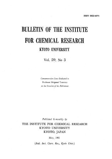 BULLETIN OF THE INSTITUTE FOR CHEMICAL RESEARCH
