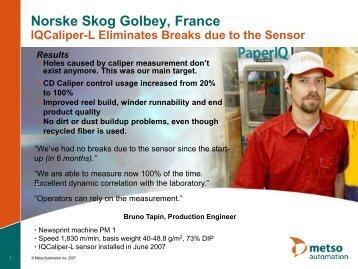Norske Skog Golbey IQCaliper-L Upgrade - Metso's automation