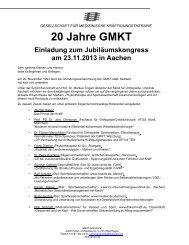 GMKT Kongress AC Einladung - Medizinischer Trainingstherapie