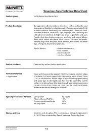 Tenacious Tape Technical Data Sheet - McNett Europe