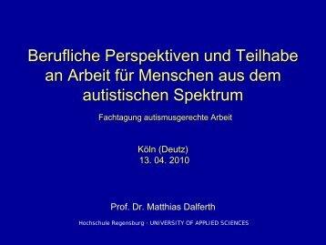 Vortrag Prof. Dr. Matthias Dalferth, Hochschule Regensburg