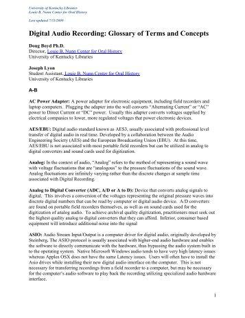 Digital Audio Recording - Oral History Association