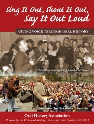 Sing It Out, Shout It Out, - Oral History Association