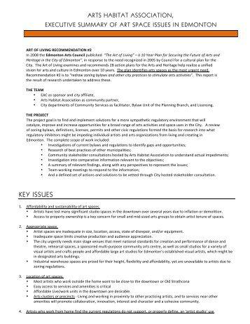 Zoning Bylaw Arts Habitat Report Brief July 2011 - Harmony