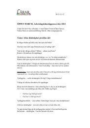 ÖPPET FORUM, Arbetslagsledardagarna 4 dec 2012 Tema: Allas ...