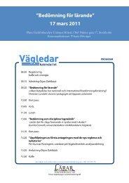 """17 mars 2011 """"Bedömning för lärande"""" - Lärarfortbildning"""
