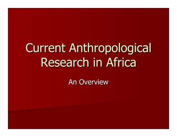 Current Anthropological Research in Africa