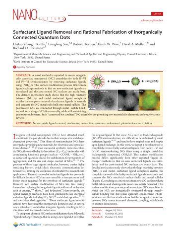 Surfactant Ligand Removal and Rational Fabrication of Inorganically ...