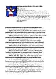 Ministrantenplan für den Monat Juli 2010 - ministranten-belecke.de
