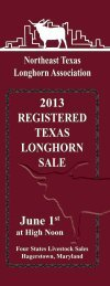 2013 Northeast Texas Longhorn Association Sale Catalog