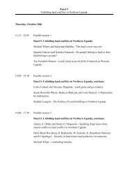 Panel 5 Unfolding land conflicts in Northern Uganda Thursday ...
