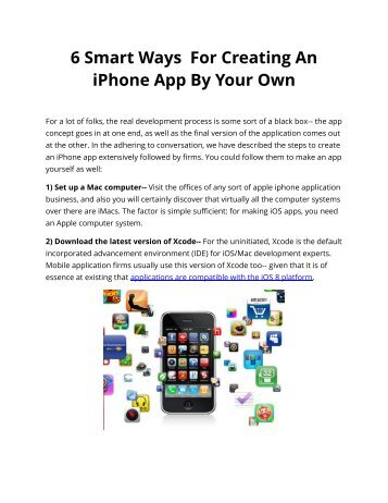 6 Smart Ways For Creating An iPhone App By Your Own