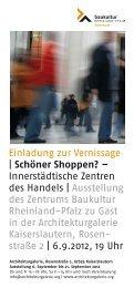 Einladung zur Vernissage - Architekturgalerie der TU Kaiserslautern