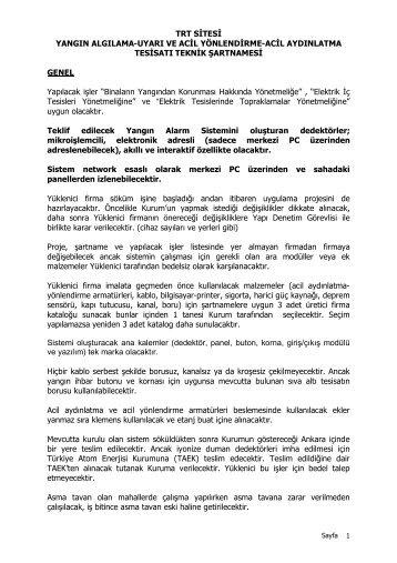 TRT SİTESİ YANGIN ALGILAMA-UYARI VE ACİL YÖNLENDİRME ...
