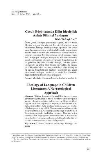 Çocuk Edebiyatında Dilin İdeolojisi: Anlatı Bilimsel ... - Dil Arastirmalari
