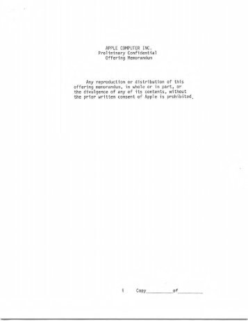 Apple Computer Inc. Business Plan 1977
