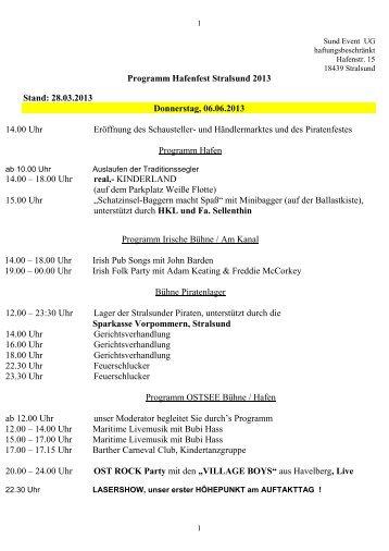 Programm Hafenfest 2013 - Stralsunder Segelwoche